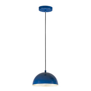 Hemisphere Gloss Navy and Aluminum 9-Inch LED Pendant