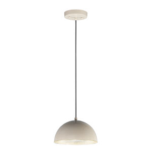 Hemisphere Gloss Taupe and Aluminum 9-Inch LED Pendant
