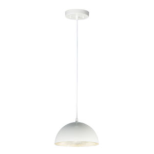 Hemisphere Gloss White and Aluminum 9-Inch LED Pendant