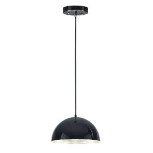 Hemisphere Gloss Black and Aluminum 14-Inch LED Pendant