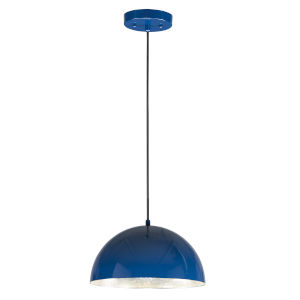 Hemisphere Gloss Navy and Aluminum 14-Inch LED Pendant