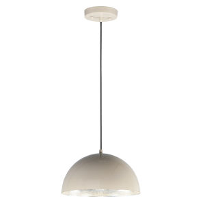 Hemisphere Gloss Taupe and Aluminum 14-Inch LED Pendant