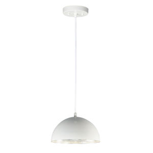 Hemisphere Gloss White and Aluminum 14-Inch LED Pendant