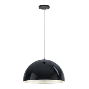 Hemisphere Gloss Black and Aluminum 24-Inch LED Pendant