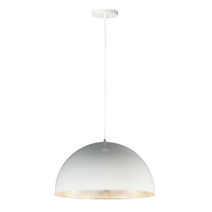 Hemisphere Gloss White and Aluminum 24-Inch LED Pendant
