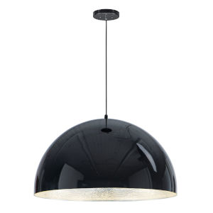 Hemisphere Gloss Black and Aluminum 31-Inch LED Pendant