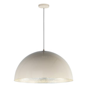 Hemisphere Gloss Taupe and Aluminum 31-Inch LED Pendant