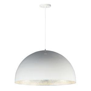 Hemisphere Gloss White and Aluminum 31-Inch LED Pendant