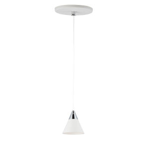 White and Polished Chrome One-Light LED Mini Pendant