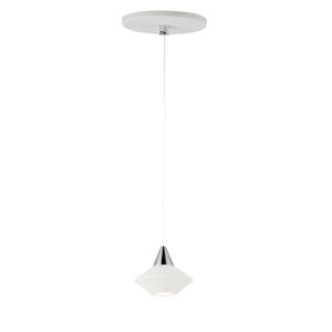 White and Polished Chrome 3-Inch One-Light LED Mini Pendant