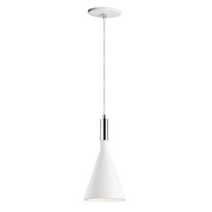 Funnel White and Polished Chrome 6-Inch LED Pendant