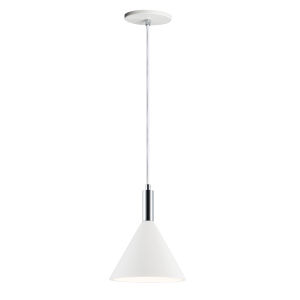 Funnel White and Polished Chrome 8-Inch LED Pendant
