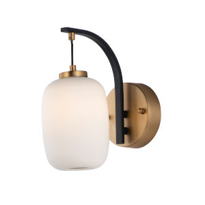 Brik Black and Gold One-Light LED Outdoor Wall Sconce