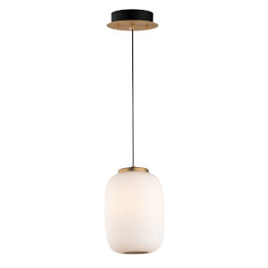 Soji Black and Gold Two-Light LED Mini Pendant with Satin White Glass