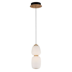 Soji Black and Gold One-Light LED Mini Pendant with Satin White Glass