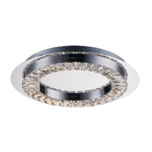 Charm Polished Chrome One-Light LED Flush Mount With Crystal Glass