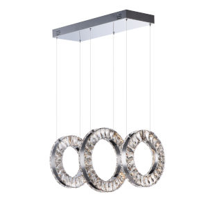 Charm Polished Chrome Three-Light LED Linear Pendant With Crystal Glass