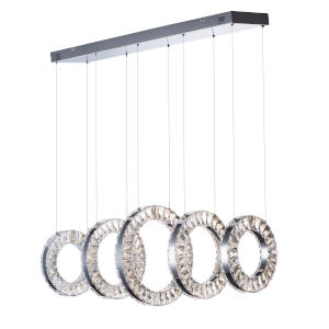 Charm Polished Chrome Five-Light LED Linear Pendant With Crystal Glass