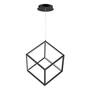 4 Square Black LED Single Pendant