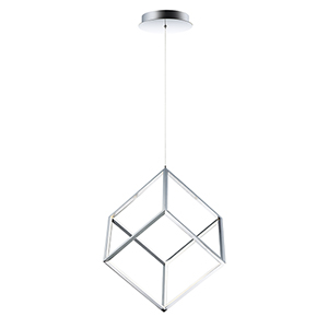 4 Square Polished Chrome LED Single Pendant