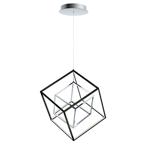 4 Square Black and Polished Chrome 21-Inch LED Single Pendant