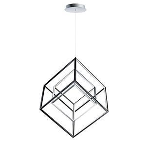 4 Square Black and Polished Chrome 31-Inch LED Single Pendant