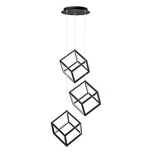 4 Square Black Three-Light LED Pendant