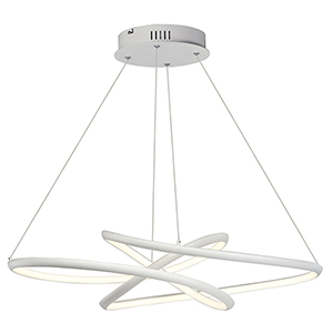 Twisted Matte White 26-Inch LED Pendant