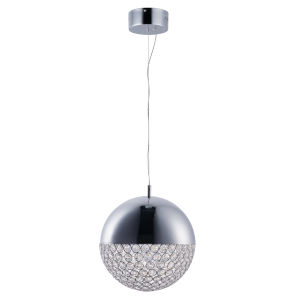 Eclipse Polished Chrome One-Light LED Multi-Light Pendant With Crystal Glass