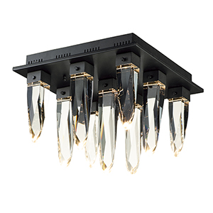 Quartz Black Nine-Light LED Flush Mount