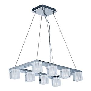 Blocs LED Polished Chrome Eight-Light LED Linear Pendant Energy Star