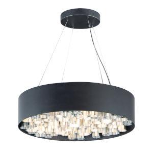 Pipes Black and Brushed Aluminum 24-Inch 13-Light LED Pendant