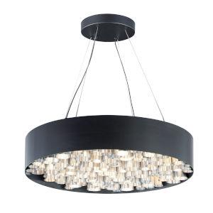 Pipes Black and Brushed Aluminum 30-Inch 26-Light LED Pendant