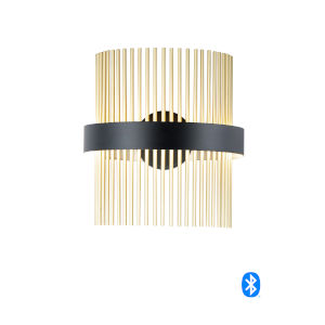 Chimes Black and Satin Brass LED Smart Home Wall Sconce