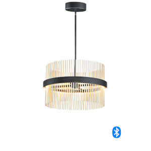 Chimes Black and Satin Brass 24-Inch LED Smart Home Pendant