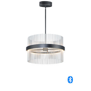 Chimes Black and Satin Nickel 24-Inch LED Smart Home Pendant