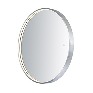 Mirror Brushed Aluminum 28-Inch One-Light ADA LED Round Mirror