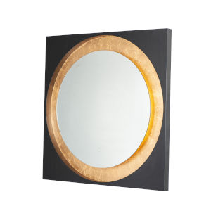 Floating Gold Leaf and Black 32-Inch LED Lighted Mirror