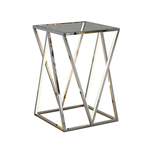 Victory Table Polished Chrome Four-Light LED Accent Table
