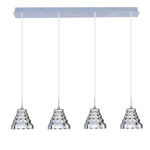 Minx Satin Nickel Four-Light Square Mini Pendant with Crystal Glass