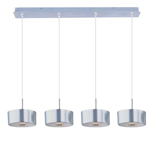 Minx Satin Nickel Four-Light Square Mini Pendant with Frost White Glass