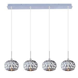 Minx Satin Nickel Four-Light Square Mini Pendant with Bubble Glass