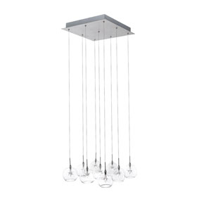 Starburst Satin Nickel Nine-Light Chandelier with Clear Glass