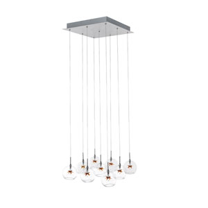 Starburst Satin Nickel Nine-Light Chandelier with Clear/Amber Glass
