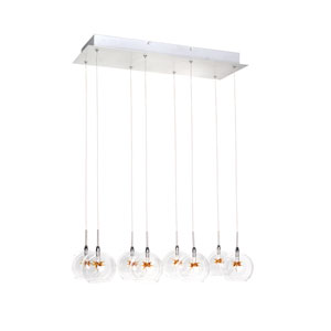 Starburst Satin Nickel Eight-Light Island Pendant with Clear/Amber Glass