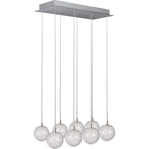Starburst Satin Nickel Eight-Light Island Pendant with Mesh Glass