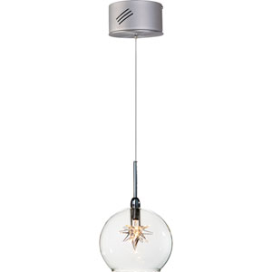 Starburst Satin Nickel One-Light Mini Pendant with Clear Glass