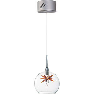 Starburst Satin Nickel One-Light Mini Pendant with Clear/Amber Glass