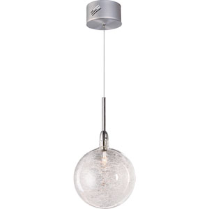 Starburst Satin Nickel One-Light Mini Pendant with Threaded Glass