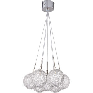 Starburst Satin Nickel Seven-Light Chandelier with Mesh Glass